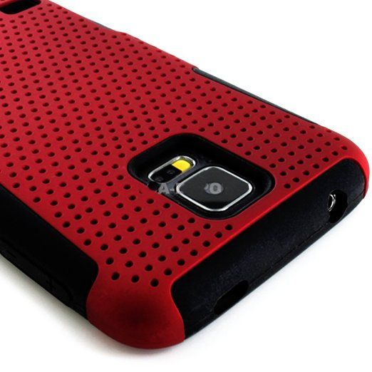 myLife (TM) Dark Rose Red and Charcoal Black - Perforated Mesh Series (2 Layer Neo Hybrid) Slim Armor Case for the NEW Galaxy S5 (5G) Smartp...