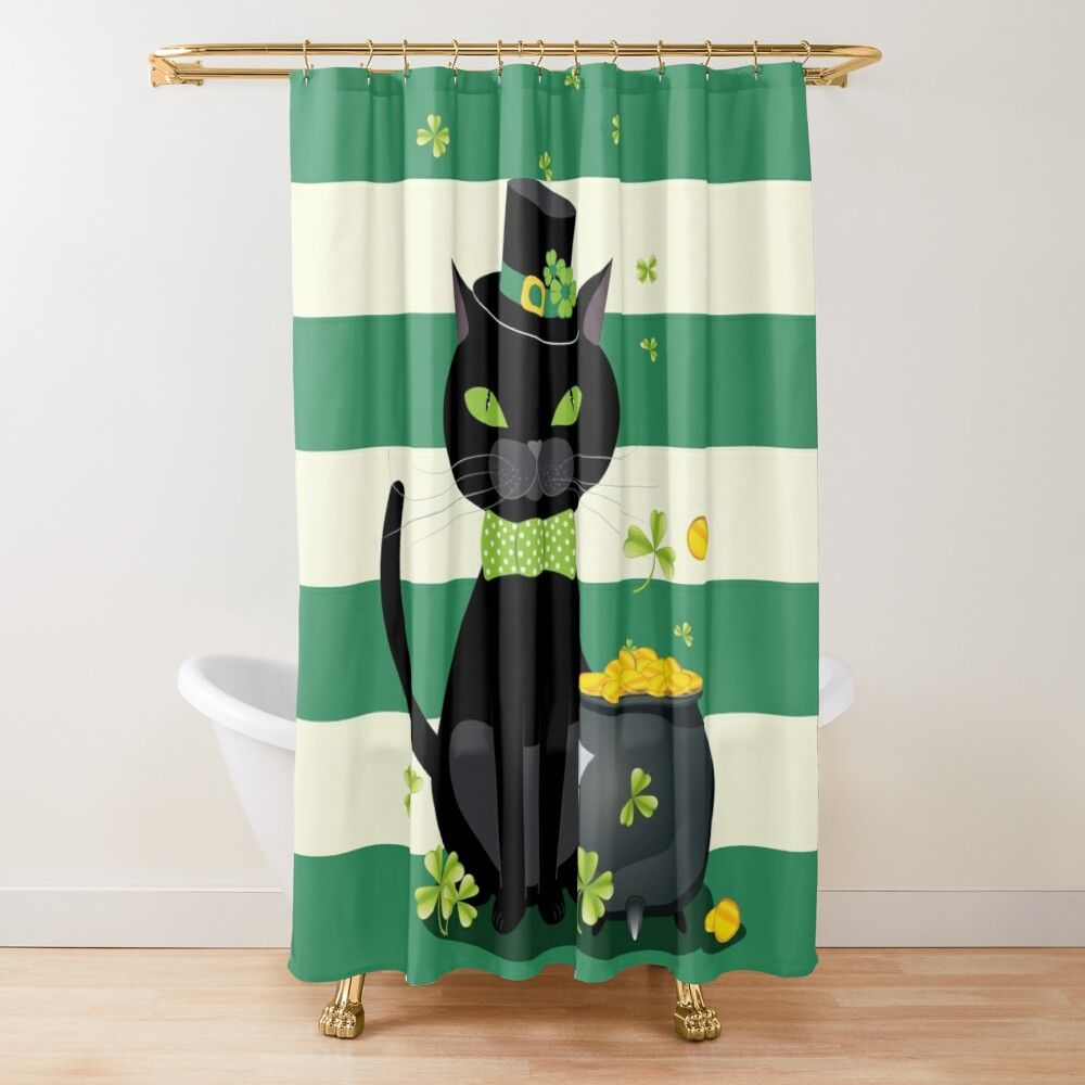 Black Cat With Shamrock Shower Curtain In 2020 Curtains Home