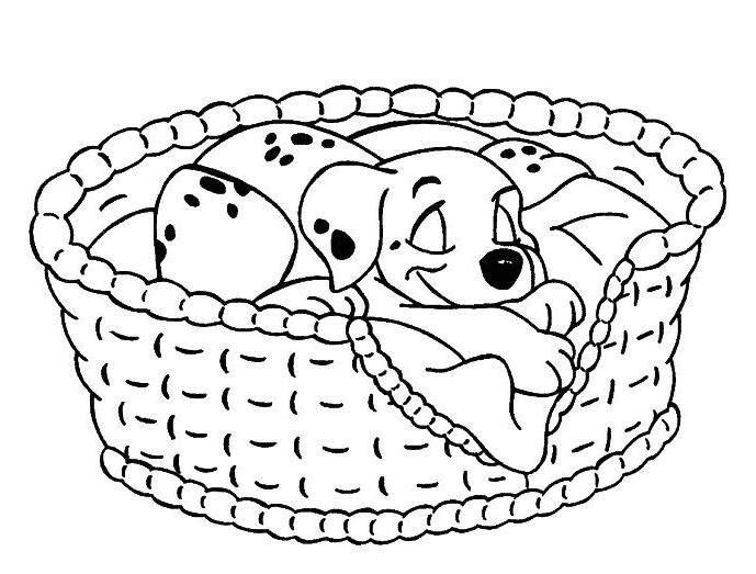 Coloriage les 101 dalmatiens le chiot dort dans son panier 101 dalmations coloring pages - Chiot a colorier ...