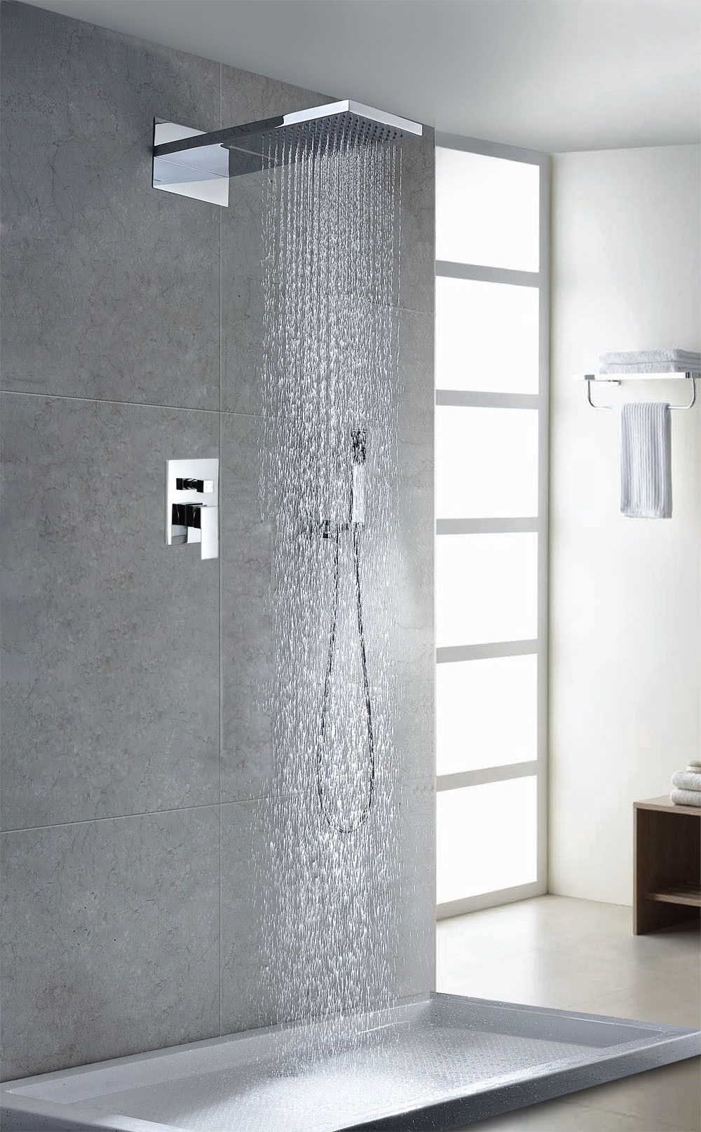 Unique Waterfall Style Elegant Touch Shower Faucet This Unique Shower Faucet Is Easy To Ins Contemporary Bathroom Designs Waterfall Shower Contemporary Shower
