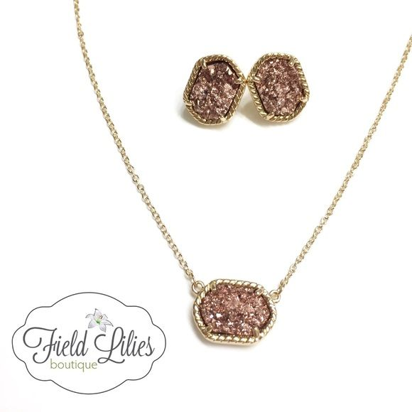 Sale rose gold druzy necklaceearring set chains rose gold druzy necklace and earring set gorgeous rose gold druzy pendant necklace on a gold aloadofball Image collections