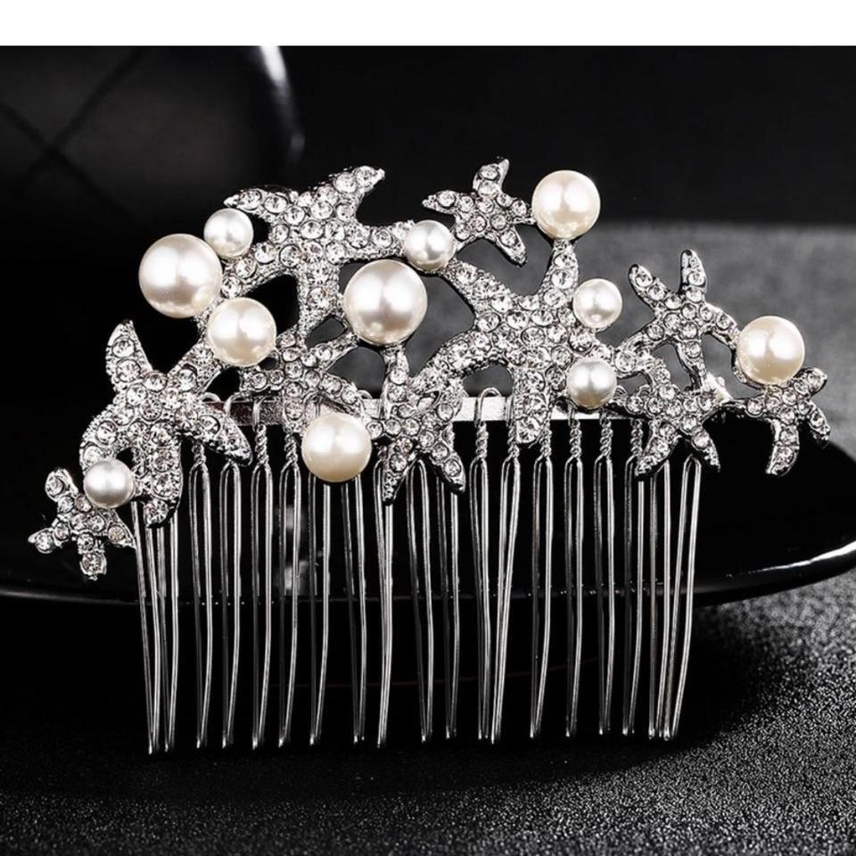 Bridal Elegant Jewelry Wedding Rhinestone Pearl Crystal Headpiece Hair Comb