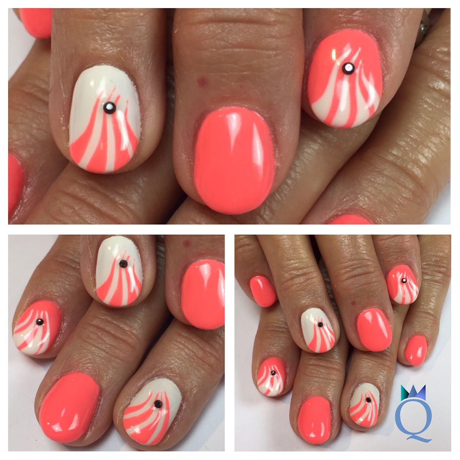 shortnails #gelnails #nails #coral #white #akyado #handpainted ...