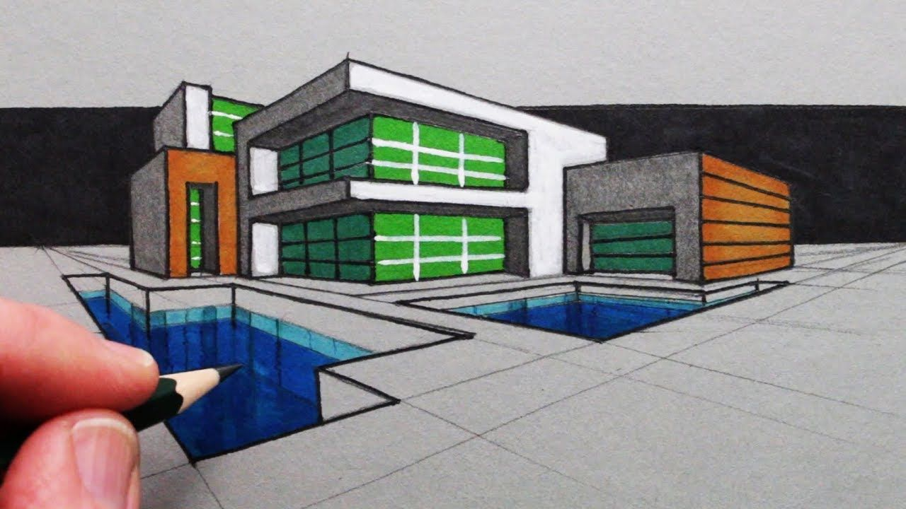 How to draw a modern house in two point perspective youtube