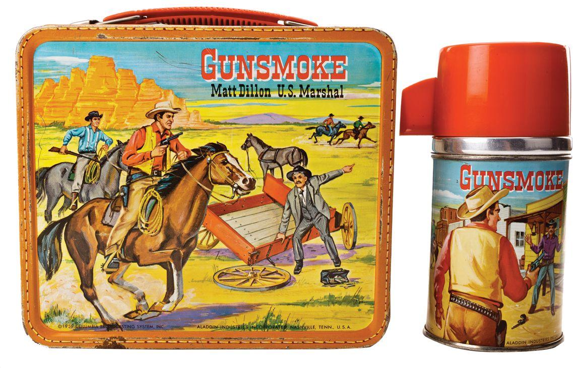 1950s Gunsmoke lunch box with thermos. Vintage Gunsmoke Matt Dillon U.S.  Marshall metal lunchbox with thermos. Lunchbox depicts James Arness as Matt  Dillon draw…