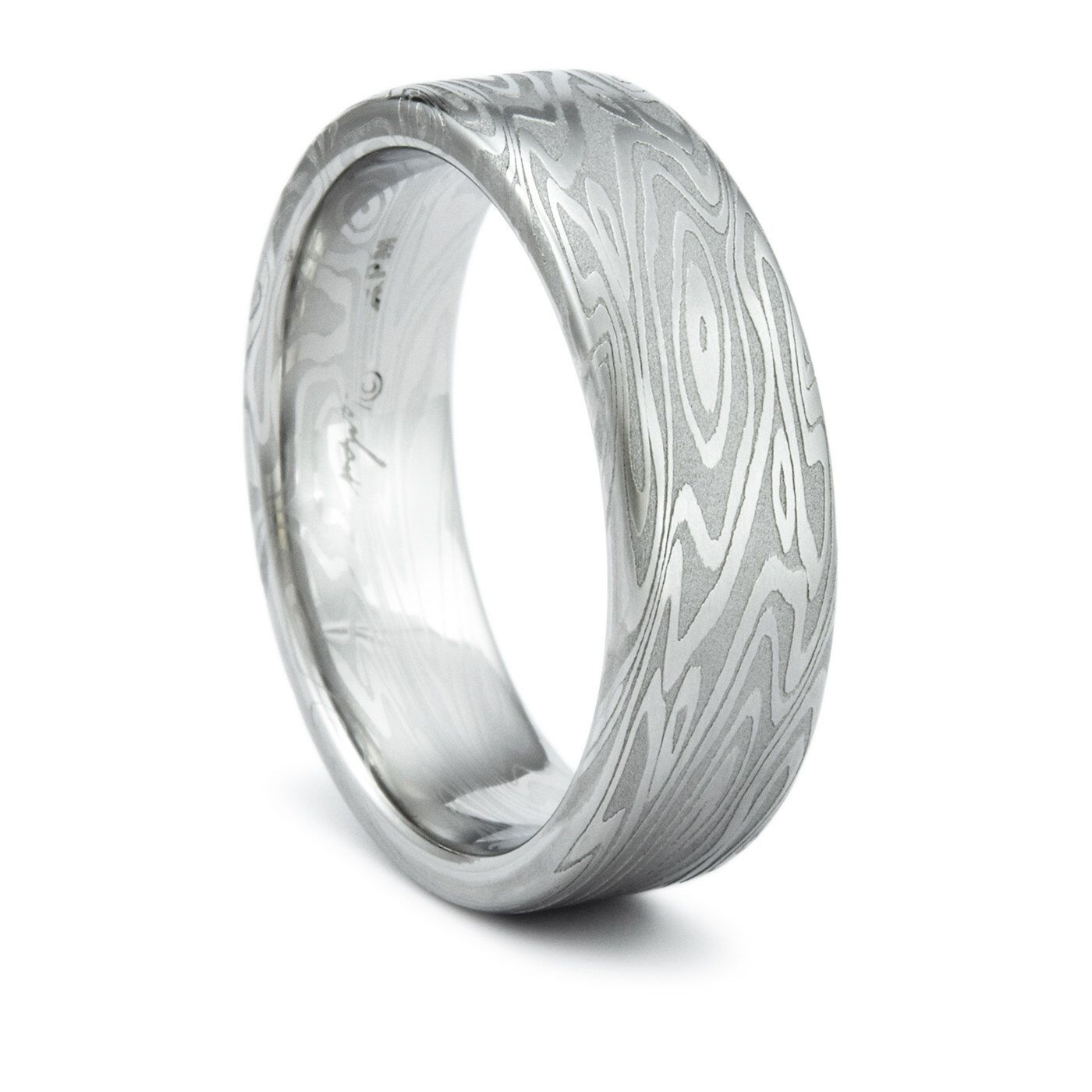 Damascus Ring Unique Men s Wedding Band Twisted Wood Grain Pattern