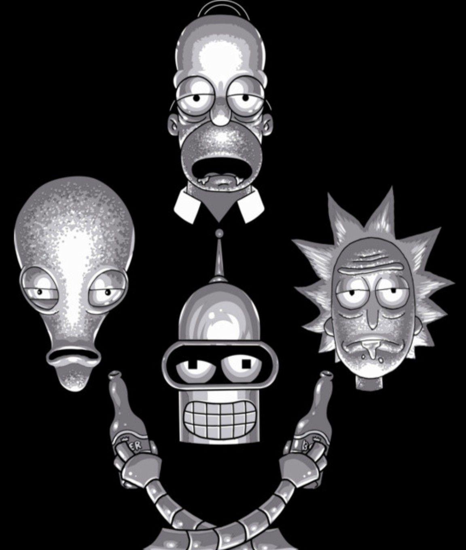 Rick And Morty X Futurama American Dad The Simpsons Fondo De Pantalla Iphone Tumblr Fondo De Pantalla Animado Pantalla De Iphone