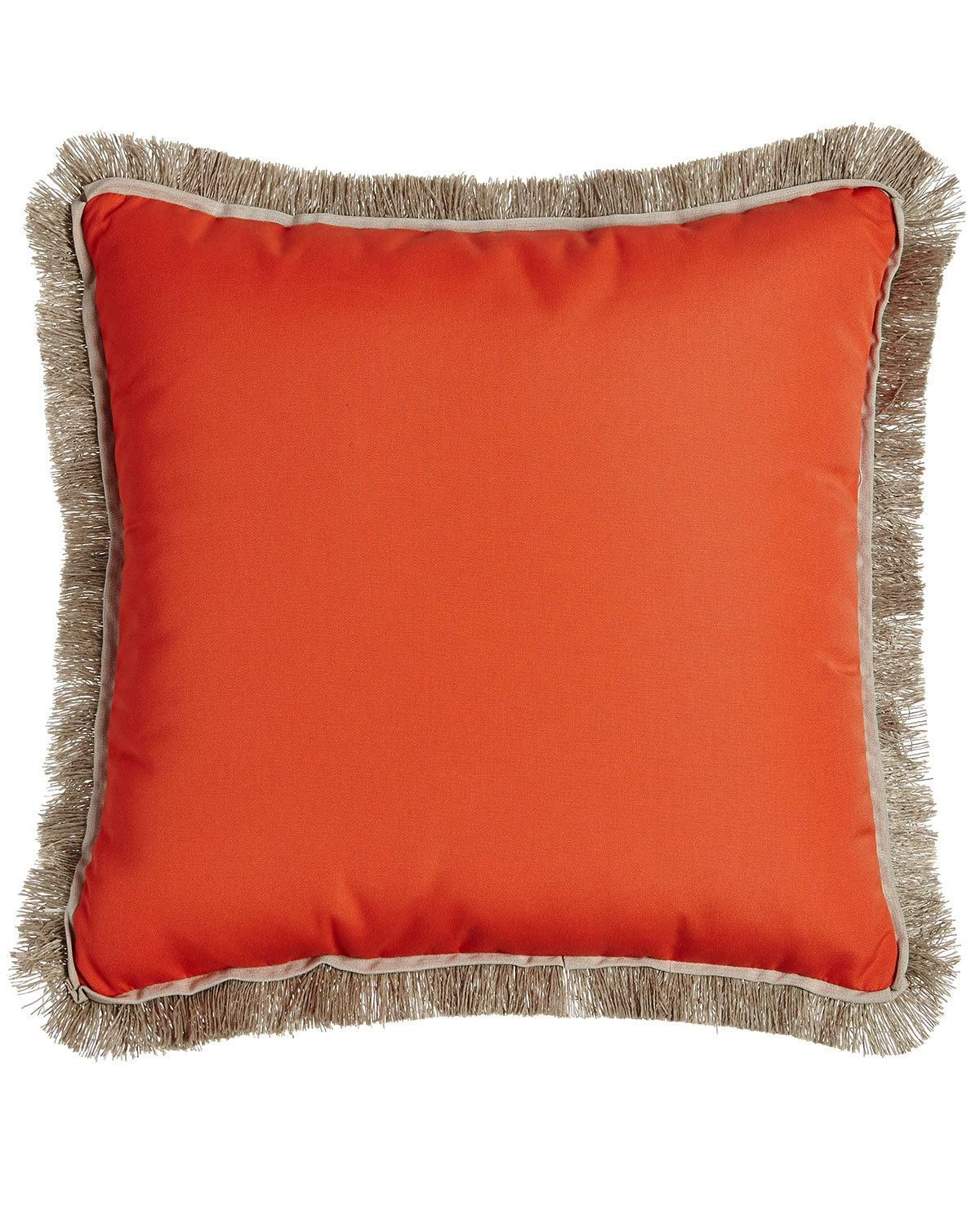 Lacefield Designs Fringed Coral Outdoor Pillow Products