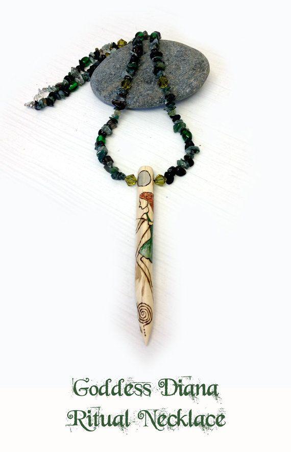 Goddess Diana Ritual Necklace Pendant Pagan By Moonscraftsuk