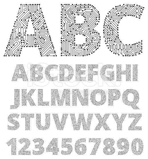 Internet Connections Circuit Board Vector Font Design