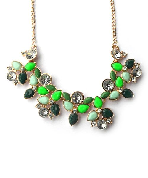 Look at this Neon Green Rhinestone Statement Bib Necklace on #zulily today!
