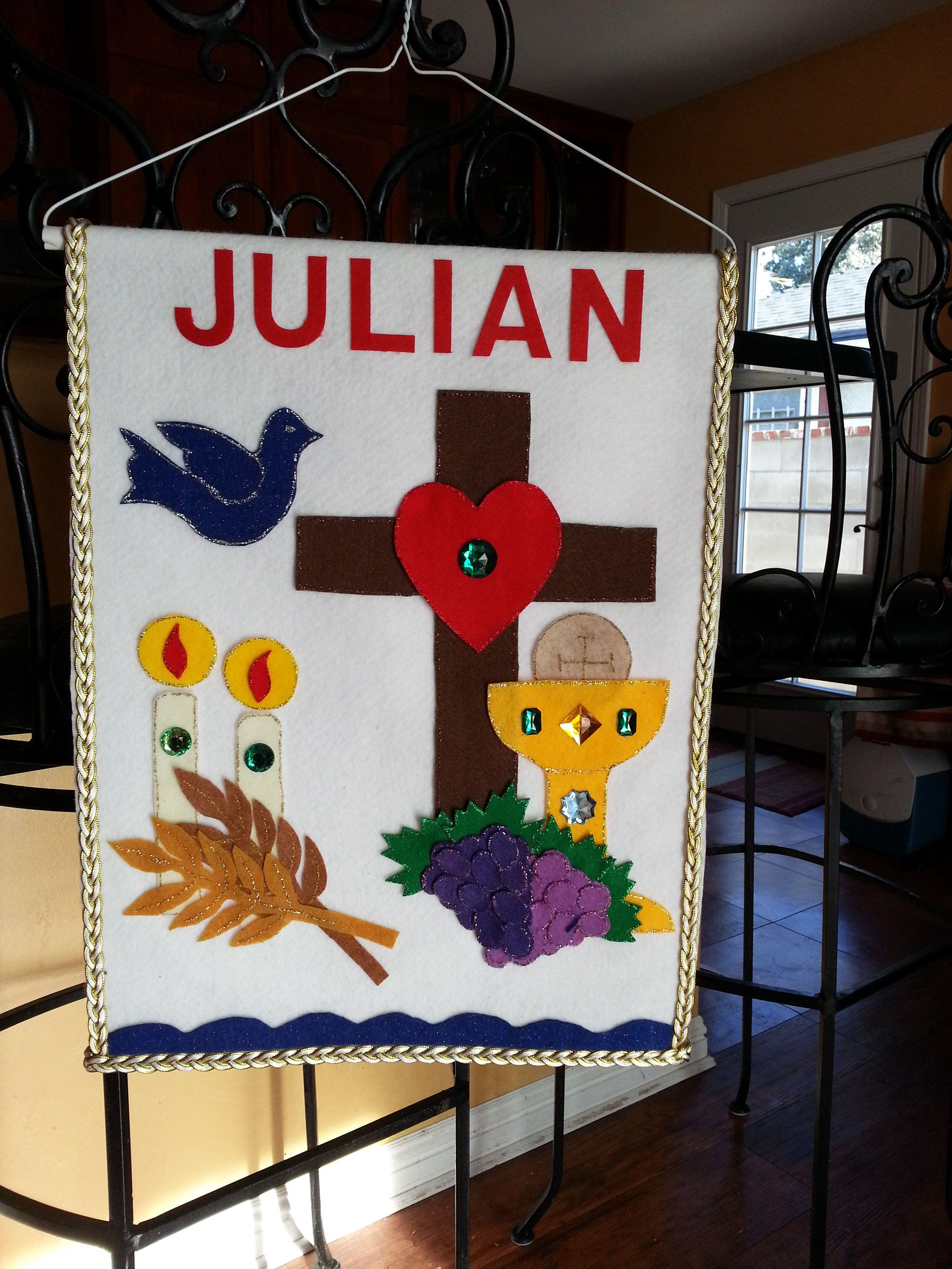 Julian 39 s first communion banner crafts pinterest the for First communion craft ideas