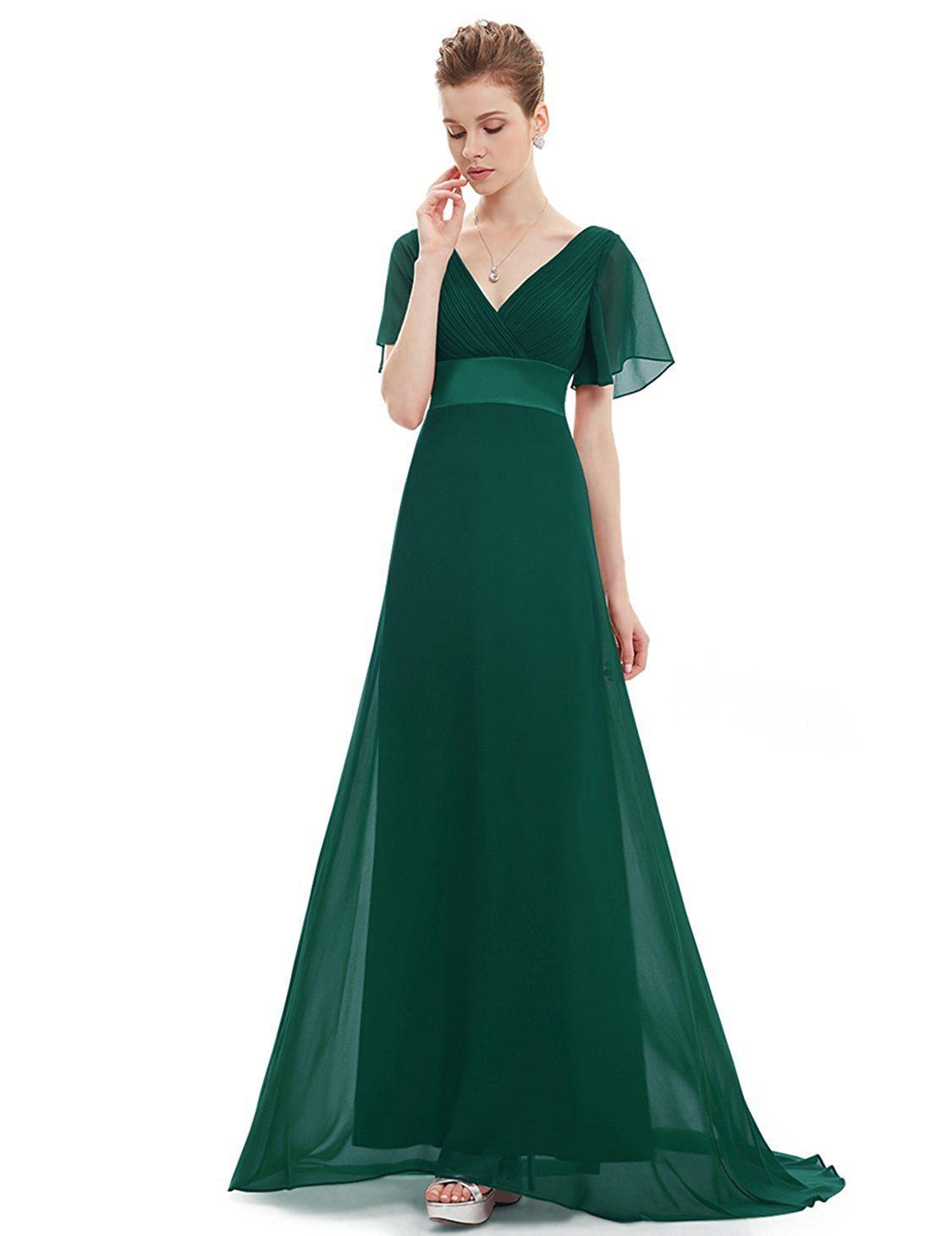 Ever pretty womenus short sleeve vneck long evening dress