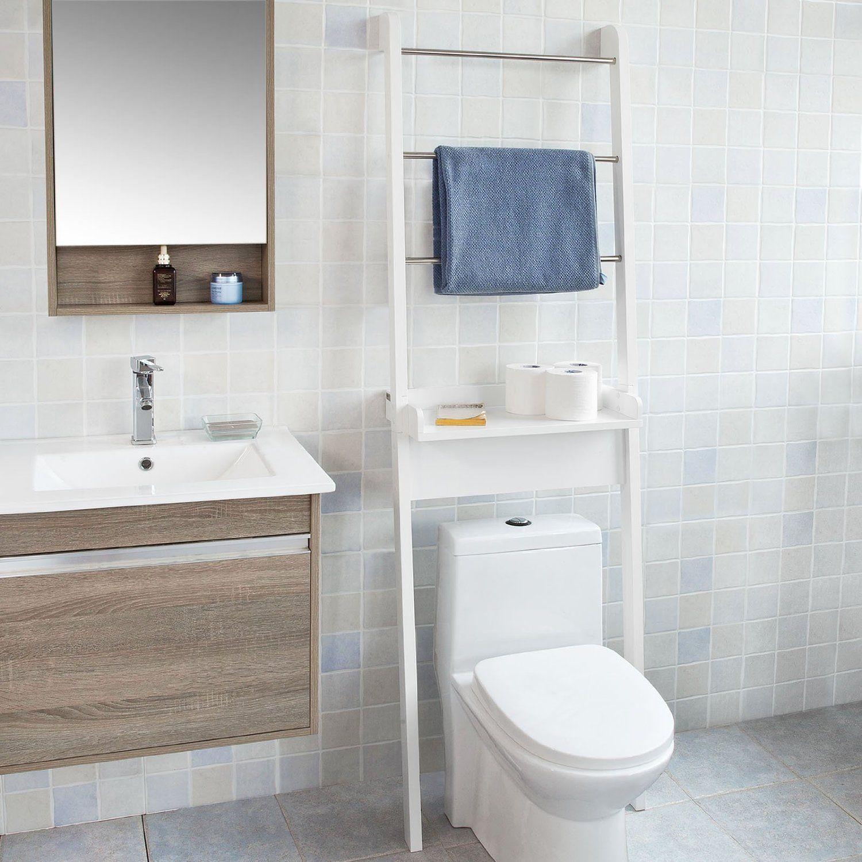 Sobuy Frg118 W White Space Saver Bathroom Shelf Over Toilet Wall Ladder Shelf 3 Hanging Ra Bathroom Storage Units Diy Shelves Bathroom Bathroom Shelf Decor