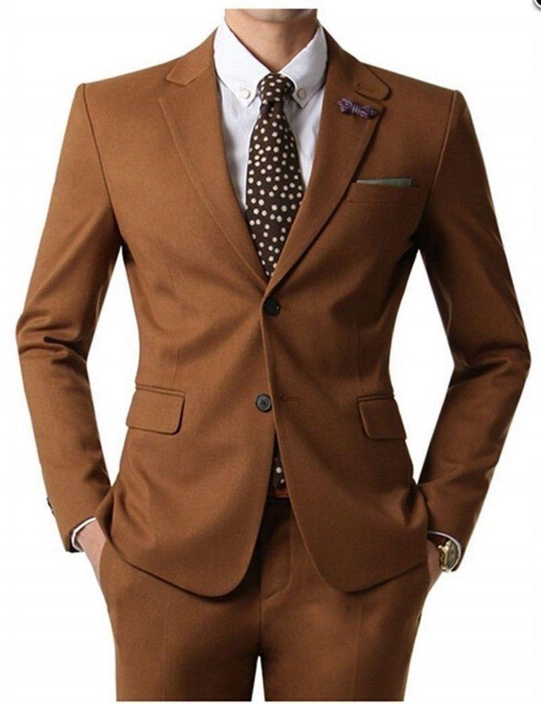e9d9dd0ca7e52 2018 Tan Brown Men s Suit 2 Pieces Slim Fit Formal Business Wedding Custom  NEW