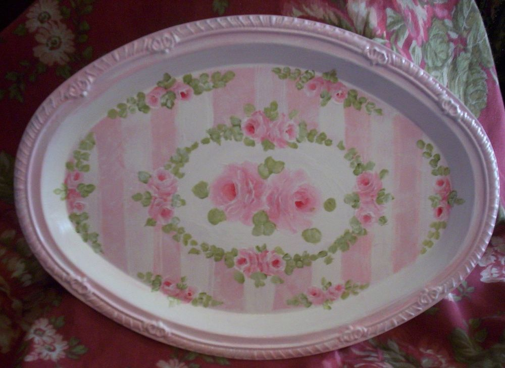Pink Rose Shabby Hp French Country Chic Vanity Tray Hand Painted Victorian With Images Vanity Tray Country Chic Hand Painted