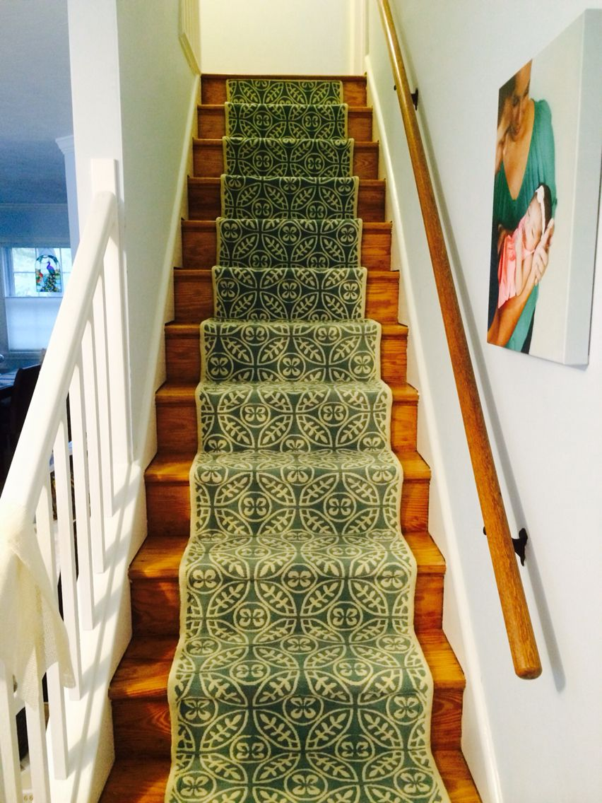 DIY stair runner. Runner is by Allen + Roth at Lowes. We