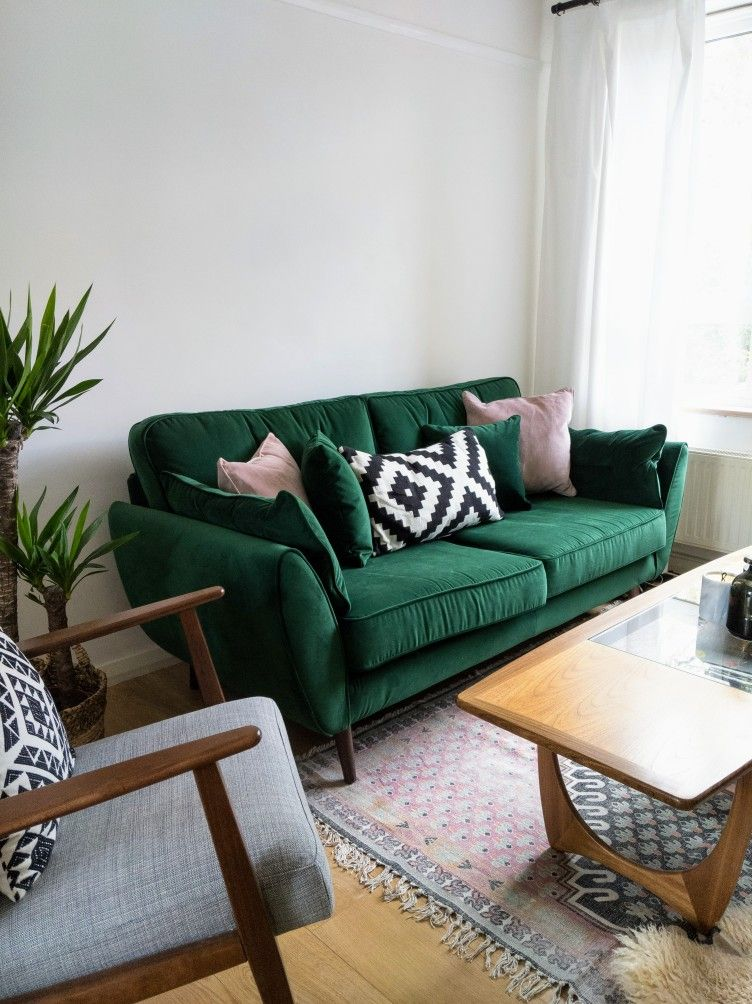 Mid Century Zinc Dfs Sofa In Emerald Velvet Green Team With Pink French Connection Rug 1960s Gplan Green Couch Decor Living Room Green Green Sofa Living Room