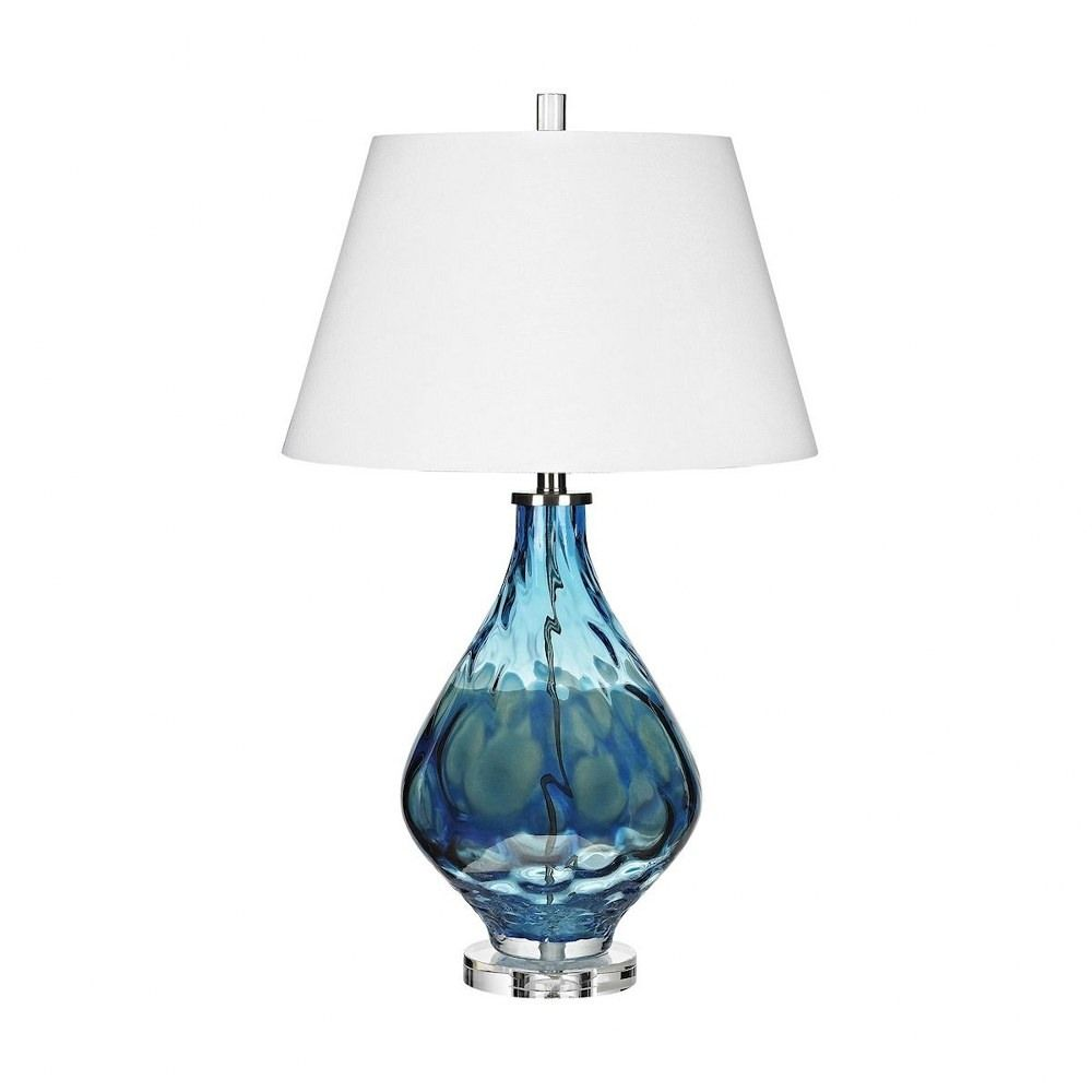 Gush One Light Table Lamp Blue Finish With White Fabric Shade In 2021 Blue Table Lamp Table Lamp Vase Table Lamp