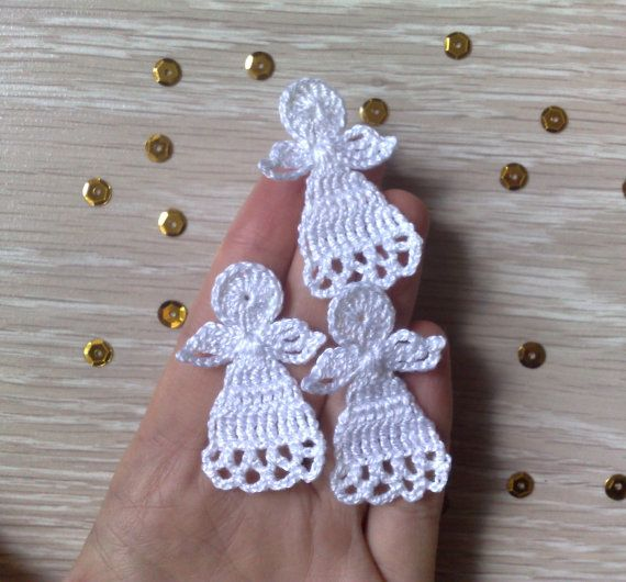 Photo of Crochet Christmas Angel Set of 3 Christmas Tree Decorations Angel Applique