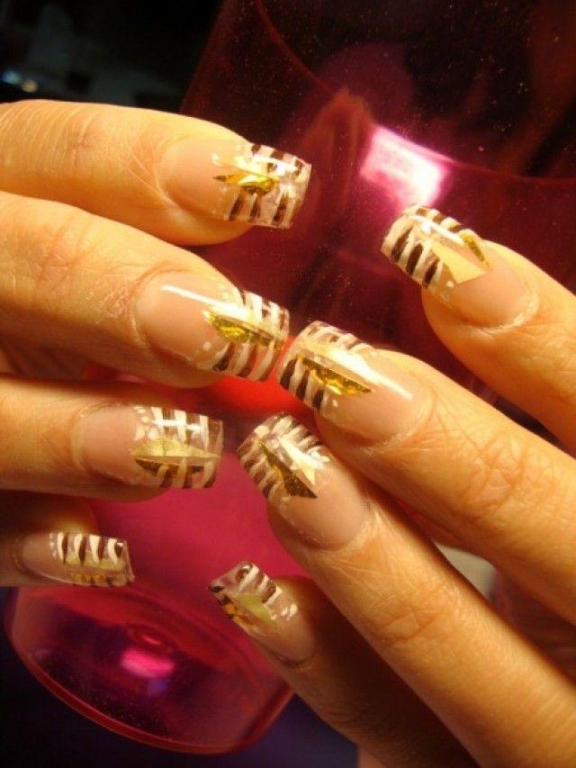 tasya knstliche fingerngel muster gold - Fingernagel Muster