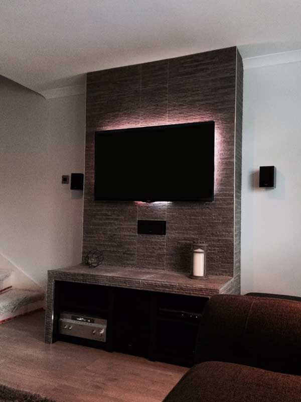 Customer Diy Project Splitface Tile Tv Stand Tvs Tv