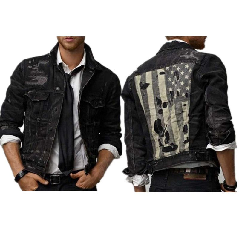 Find More Jackets Information about Patch designs mens distressed denim  jacket ripped vintage jackets fashion…