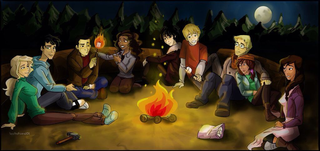 The Seven, Nico, Reyna, and Will at a campfire | Percy