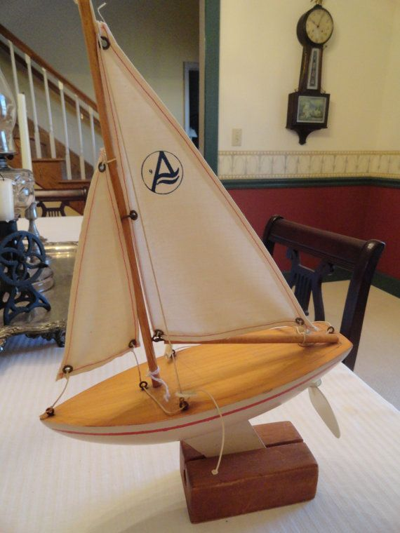 Model Boat Pond Yacht Nautical Toy Sailboat Wood Canvas
