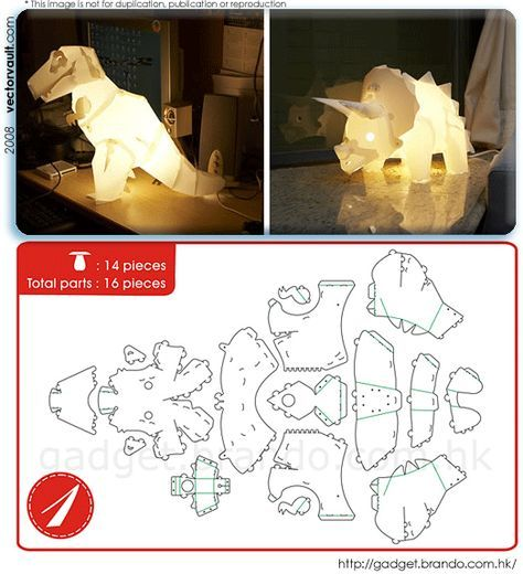 Do It Yourself Dinosaur Lamps Paper Crafts Diy Paper Crafts Origami Origami Lamp