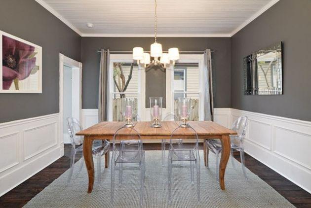 Esszimmer Mit Massivholztisch Transparente Acryl Stühle Grau Weiß FArbschema