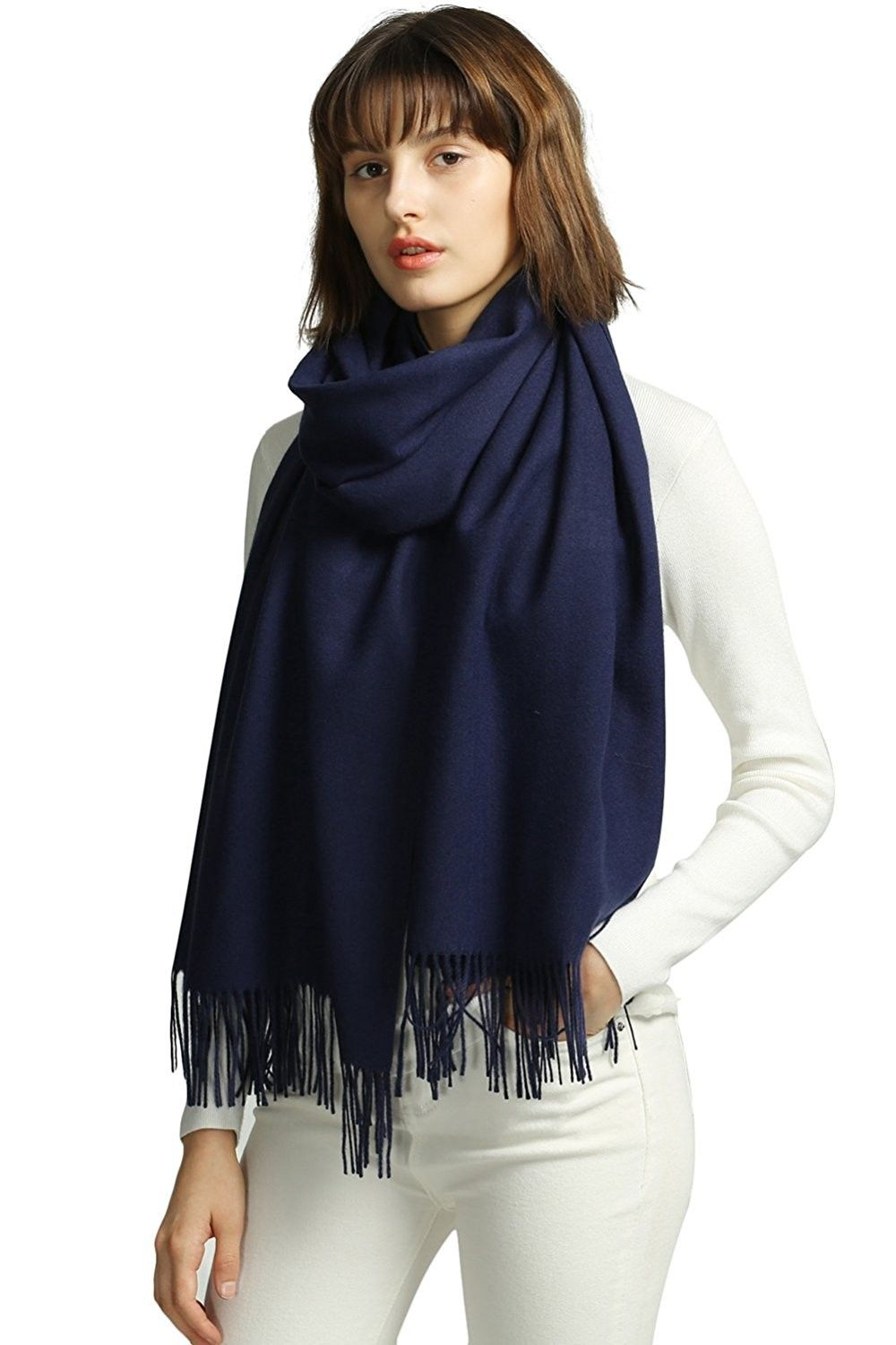 b826244ae Womens Large Soft Cashmere Feel Pashmina Shawls Wraps Light Scarf - Navy -  C4185DTEW2U - Scarves