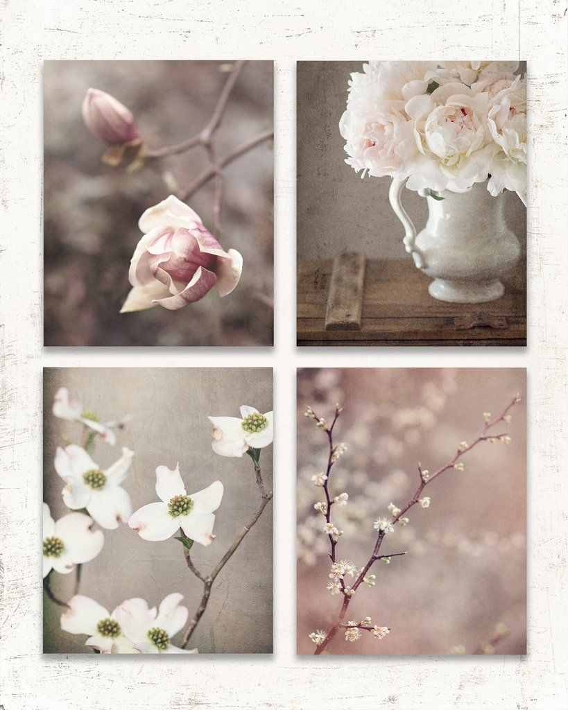 Rustic Floral Set Of Four Prints Soft Muted And Rustic Flower Photos For Your Modern Farmhouse Decor Perfe Flower Wall Decor Flower Wall Art Rustic Flowers