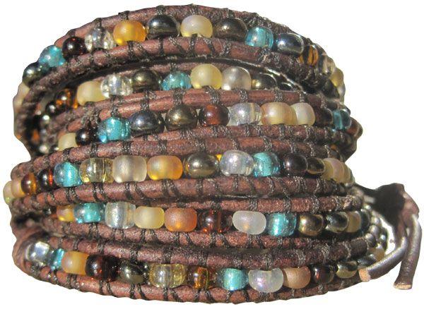 Wrap Bracelet in Antique Browns & Blues