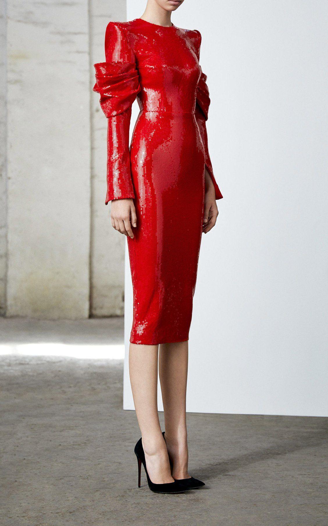 Declan Draped Long Sleeve Sequin Dress By Alex Perry Fw19 Moda Operandi Fashion Red Fashion Long Sleeve Sequin Dress [ 1807 x 1128 Pixel ]