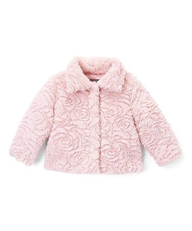 50402db00 Loving this Pink Rose Faux Fur Peacoat - Infant