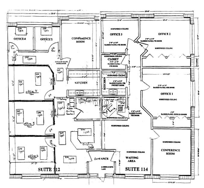 a floor plan for a commercial office building floor