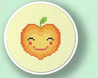 Instant Download Happy Avocado Cross Stitch Pattern PDF PDF Modern Cute Simple Counted Cross Stitch Pattern
