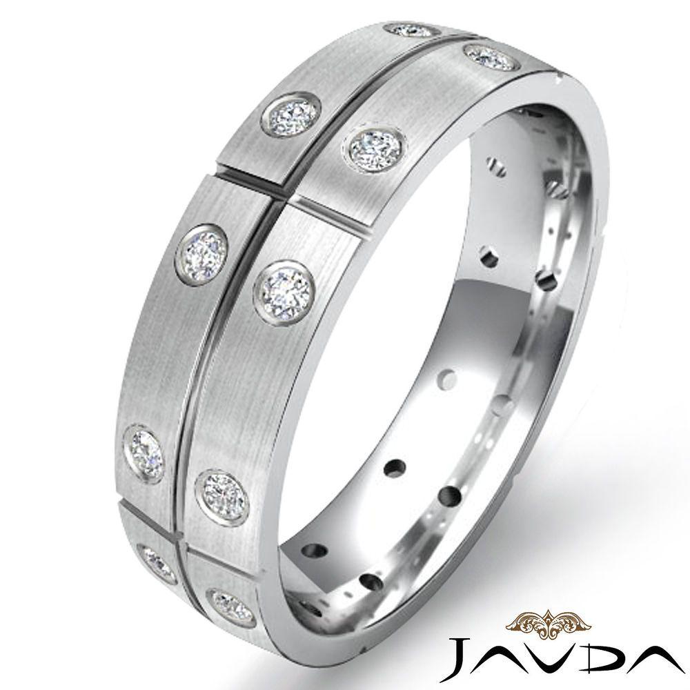 Eternity wedding band round bezel set diamond mens dome