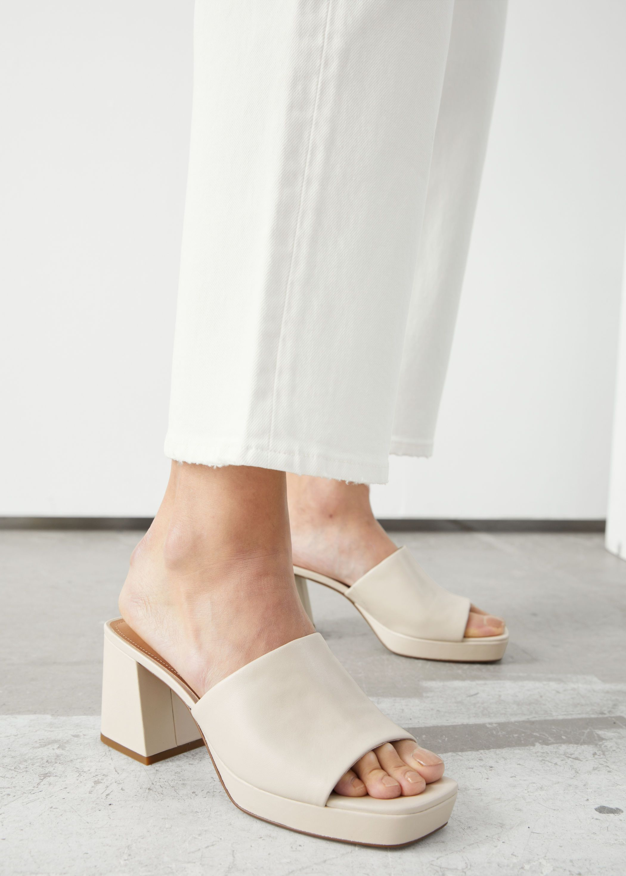 Leather Heeled Platform Mules in 2020