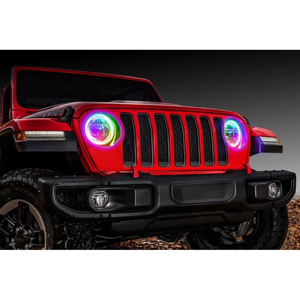 Oracle Lighting Led Headlight Halo Ring Kit Colorshift Waterproof With Bc1 Controller Jeep Wrangler Jl 2018 2020 Gladiator 2020 Led Headlights Jeep Jeep Wrangler