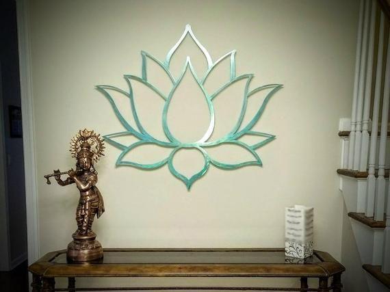 Lotus Flower Metal Wall Art Sculpture, Brushed Metal w/ Serenity Teal - Spiritual Wall Decor for the Modern Home, Yoga Studio or Meditation #lotusflower