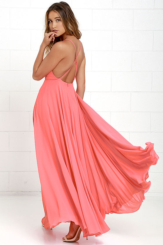 04a88d604f1df Lulus Exclusive! The Mythical Kind of Love Coral Pink Maxi Dress is simply  irresistible in every single way! Lightweight Georgette forms a fitted  bodice ...