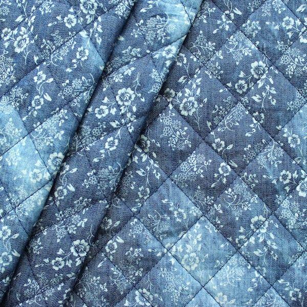 Steppstoff Wattiert Jeanslook Blumchen Farbe Blau 15392 Farbe Blau Blau Stoff