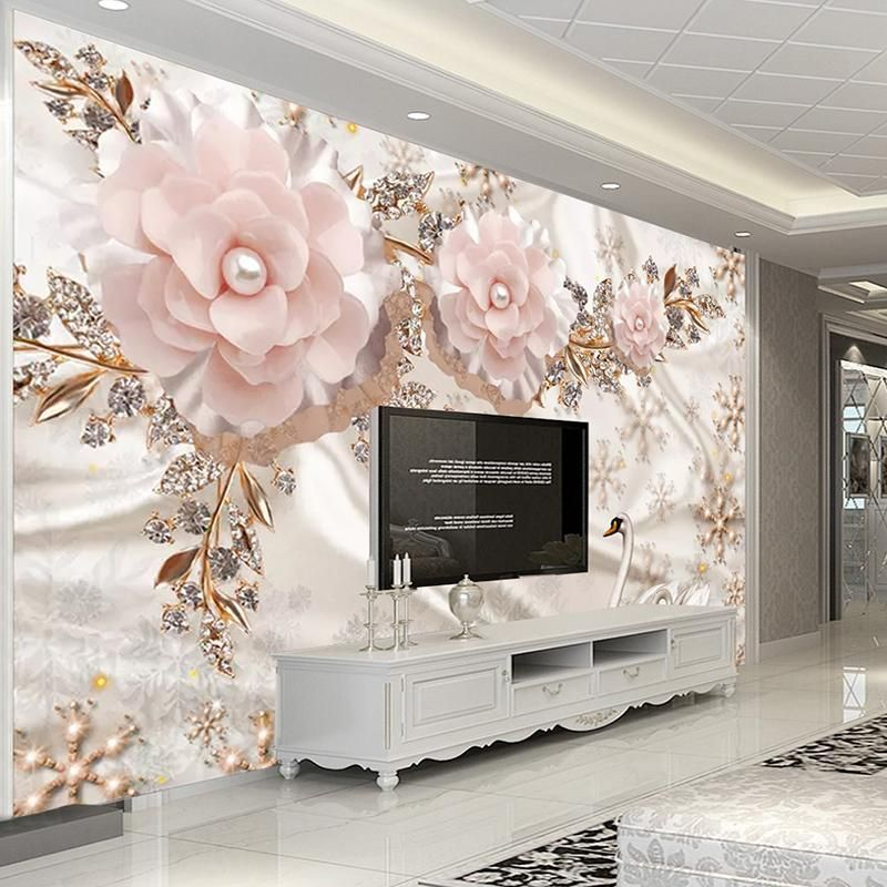 Large 3d European Pearl And Rose Jewelry Tv Background Wallpaper Living Room Wallpaper Full Seam Wallpaper Living Room Room Wallpaper Wall Painting Living Room