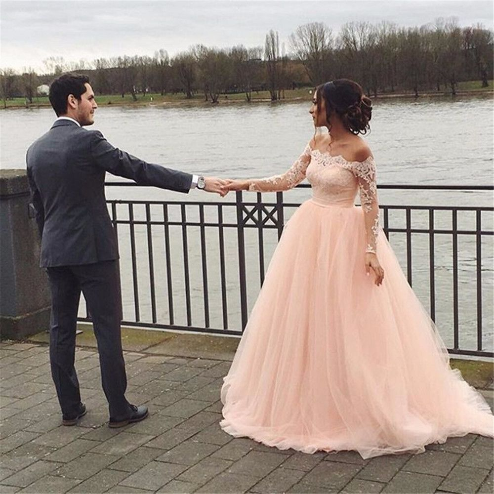 2017 blush vintage wedding dress full sleeve robe de mariage 2017 blush vintage wedding dress full sleeve robe de mariage appliques lace up back bridal gown ombrellifo Gallery