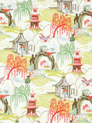 Modern Toile Fabric In Aqua, Pistachio, Coral Red, Charcoal And White. This Part 8