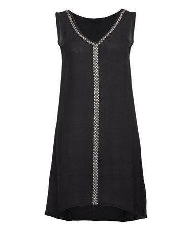 Another great find on #zulily! Black V-Neck A-Line Dress #zulilyfinds