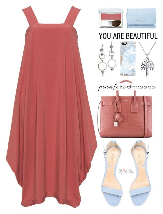 """60-Second Style: Pinafores"" by mada-malureanu ❤ liked on Polyvore featuring Schutz, Yves Saint Laurent, Casetify, Clinique, Marc Jacobs, Silver, jewelry, pinafores, 60secondstyle and revekarose"