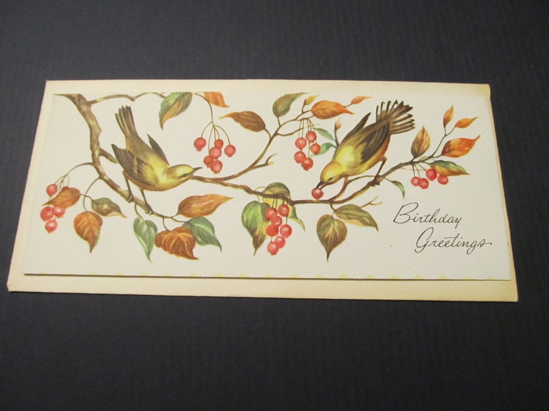 Bird Birthday Greeting Long Money Card